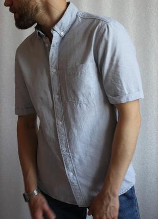 Рубашка небесного цвета летняя с коротким рукавом новая