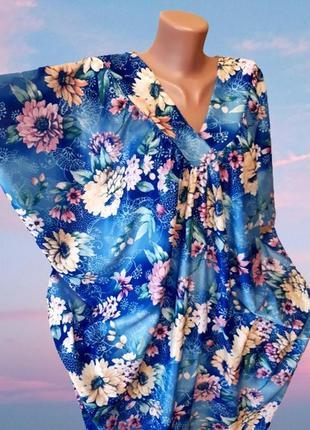Красивое длинное платье оверсайз с цветочным принтом, для 4xl-8xl