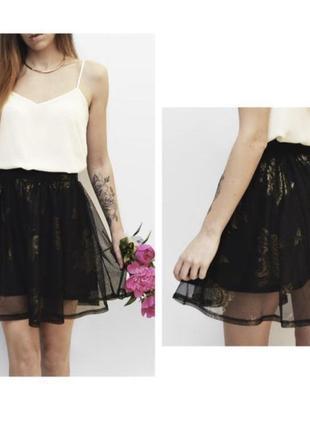 Двойная юбка с пышной сеткой в принт золотые цветы