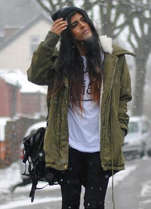 Тёплая парка, куртка хаки