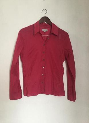 Нежная тонкая хлопковая рубашка ягодного цвета