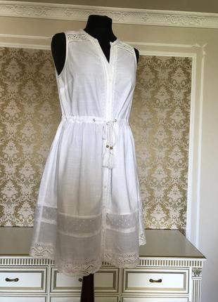Платье из хлопка белое f&f