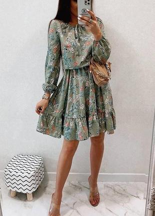 Платье 448275-2 оливка лето