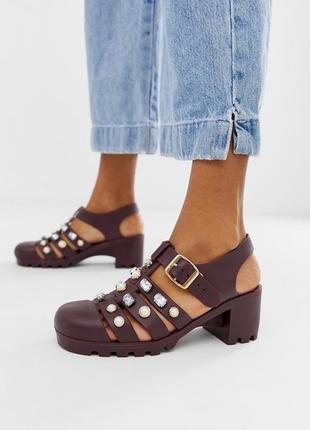 Силиконовые босоножки сандалии на каблуке асос asos jelly