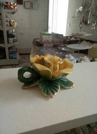 """Подсвечник """"роза"""" желтая"""