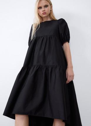 Чорна котонова сукня zara