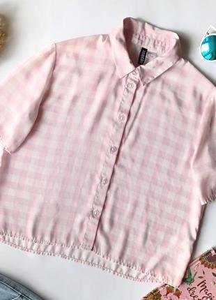 🌸sale🌸 укорочена біло рожева сорочка в клітинку, кроп рубашка в клетку h&m