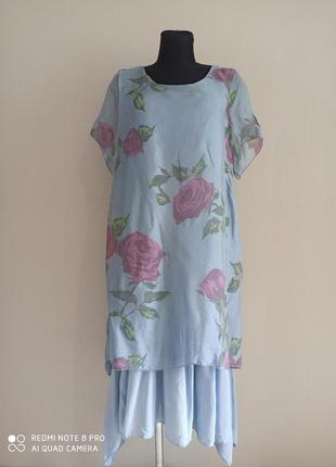 Нежное шёлковое платье миди в розах италия
