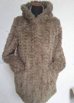 Стильная шуба из искуственного меха полушубок пальто куртка