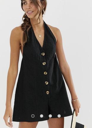 Ромпер из фактурной ткани на пуговицах asos design черный