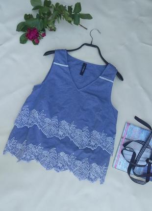 Легкая летняя блуза топ с вышивкой двухслойный