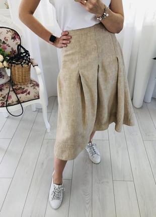 Бежевая льняная юбка в складку