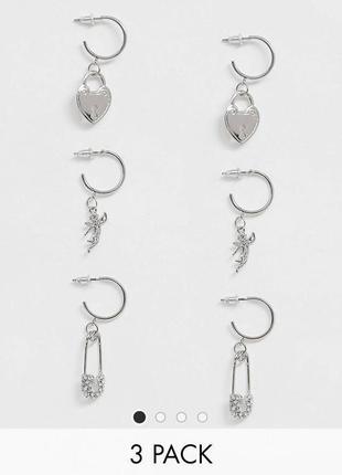 Набор комплект серьги сережки серёжки асос asos