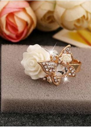 Кольцо женское регулируемое с кристаллами и бабочкой