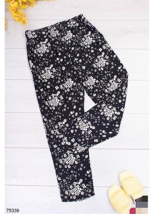 Брюки женские штаны штани с высокой посадкой завышенной талией на резинке черно-белые чорно-білі в принт
