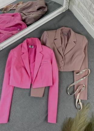 Идеальный жакет в цвете латте, пыльный оттенок, укороченный пиджак, новый!