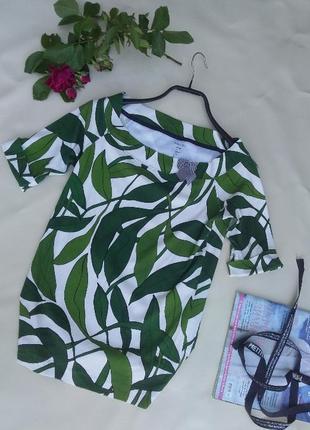 Летняя легкая футболка блуза с актуальным тропическим принтом премиум бренд хлопок