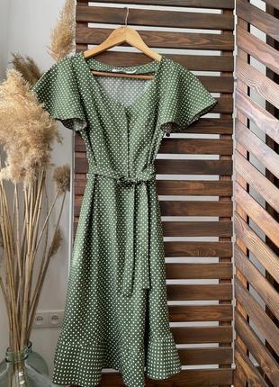 Женский летний сарафан в горошек! цвет оливка
