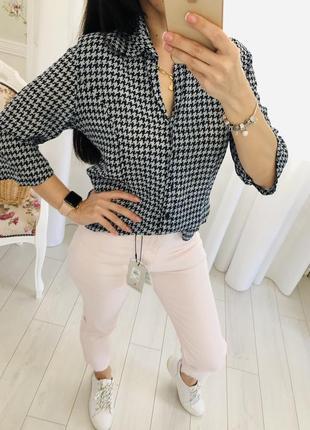Блузка рубашка в гусиную лапку