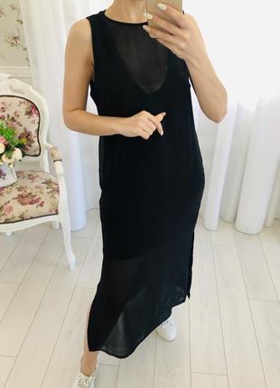 Zara длинное чёрное платье шифон