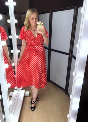 Красное платье платице сарафан цвета  в ассортименте в гоорох горошек 1216