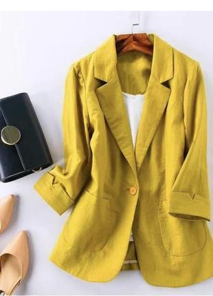 Пиджак 50-52 лён цвет горчица