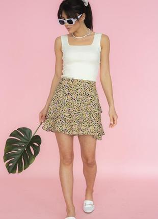 Мини-юбка с цветочным принтом