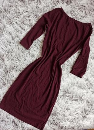 Женское платье базовое миди, базовое платье миди бордовое