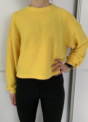 Кофта світшот свободный топ оверсайз жовта кофта трендовий свитшот яркий h&m жолтая.