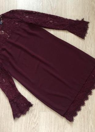 Бордовое ажурное платье new look  размер 8