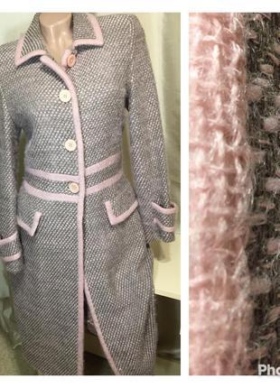 Милое теплое шерстяное пальто с мохером