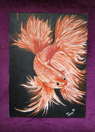 """Картина """"золотая рыбка"""" р 26*18 ,акрил,холст"""