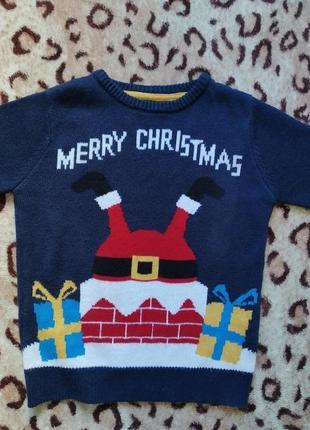 Новогодний свитер санта 8-9 лет