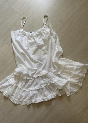 Платье хлопковое белое сарафан летний