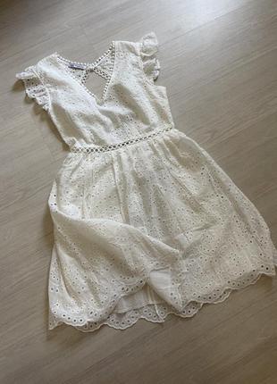 Платье хлопковое белое из прошвы