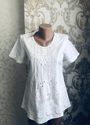 Блуза блузка белая хлопок прошва выбитая вышитая модная стильная