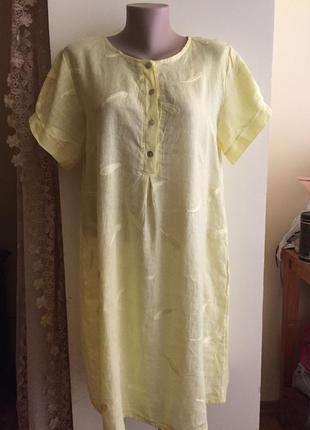 Итальянское легенькое нежное льняное платье нежно-лимонного цвета