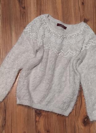 Белый женский свитер травка пушистый с орнаментом у горловины cache cache s
