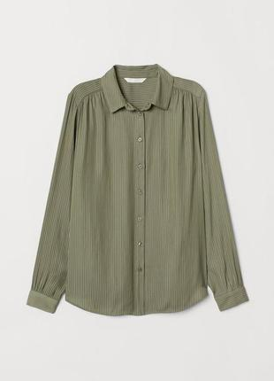 Просторная рубашка блузка с широкими рукавами хаки