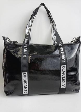 Вместительная сумка серебро эко кожа, на длинных ручках, можно на плечо. сумка жіноча еко шкіра