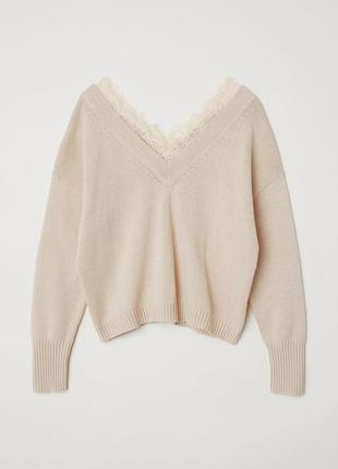 Стильный свитер h&m с кружевами новый / большая распродажа!