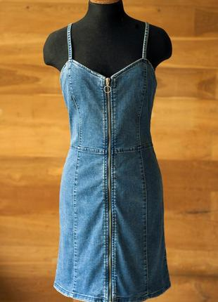 Джинсовый синий сарафан на бретельках с бюстье женский denim co, размер l