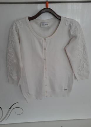 Отличная белая кофта amy vermont кардиган с вышивкой под мом кружево свитер !