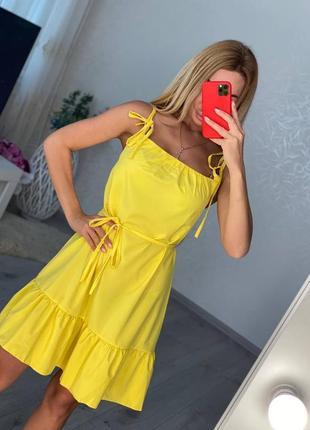 Женский желтый летний сарафан3 фото
