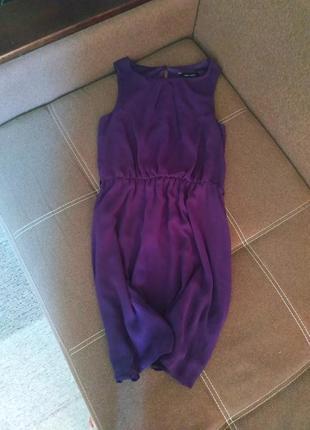 Фиолетовое платье миди на лето базовое минималистичное new look