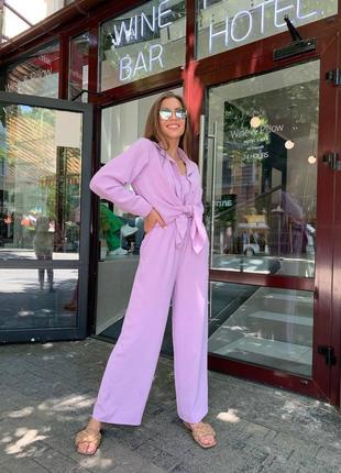 Костюм лиловый лаванда костюм-тройка рубашка топ кюлоты широкие брюки жатка летний лето