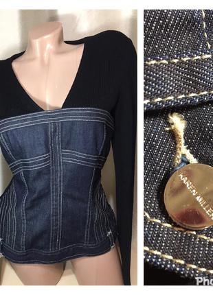 Комбинированный стильный джинсовый джемпер
