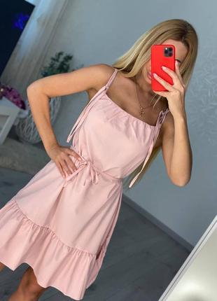 Женский летний розовый сарафан на тонких бретелях2 фото
