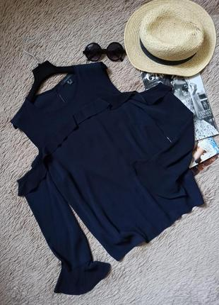 Шикарная блузка с открытыми плечами и рюшами/блуза/кофточка