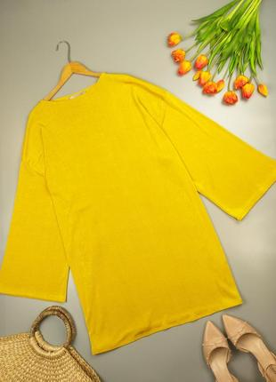 Блуза туника желтая с широкими рукавами 24р.